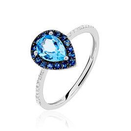 Bague Kenza Or Blanc Topaze Et Saphir Et Diamant - Bagues avec pierre Femme | Histoire d'Or
