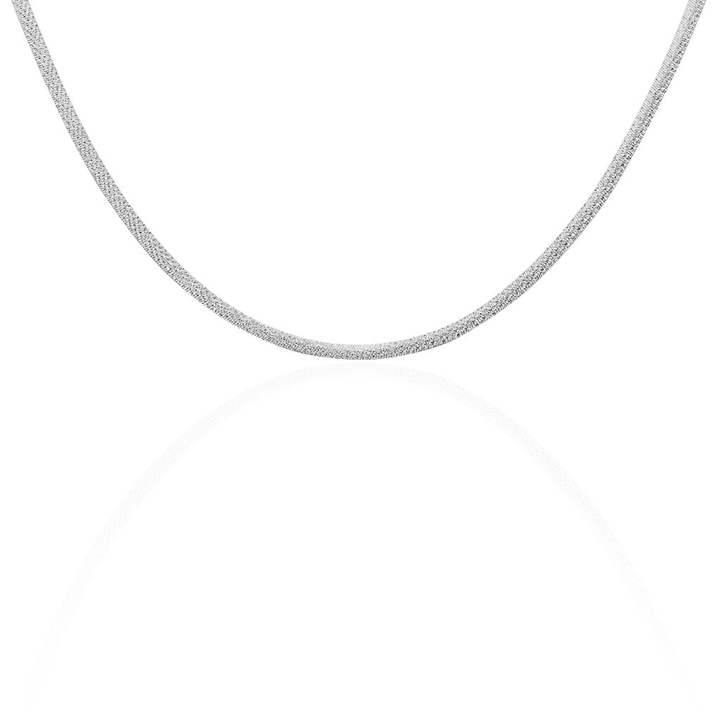 Collier Zoubeida Maille Heringbone Argent Blanc - Chaines Femme | Histoire d'Or