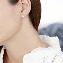 Boucles D'oreilles Puces Rufina Or Blanc Oxyde De Zirconium - Clous d'oreilles Femme | Histoire d'Or