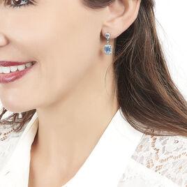 Boucles D'oreilles Pendantes Or Blanc Topaze Diamant - Boucles d'oreilles pendantes Femme   Histoire d'Or