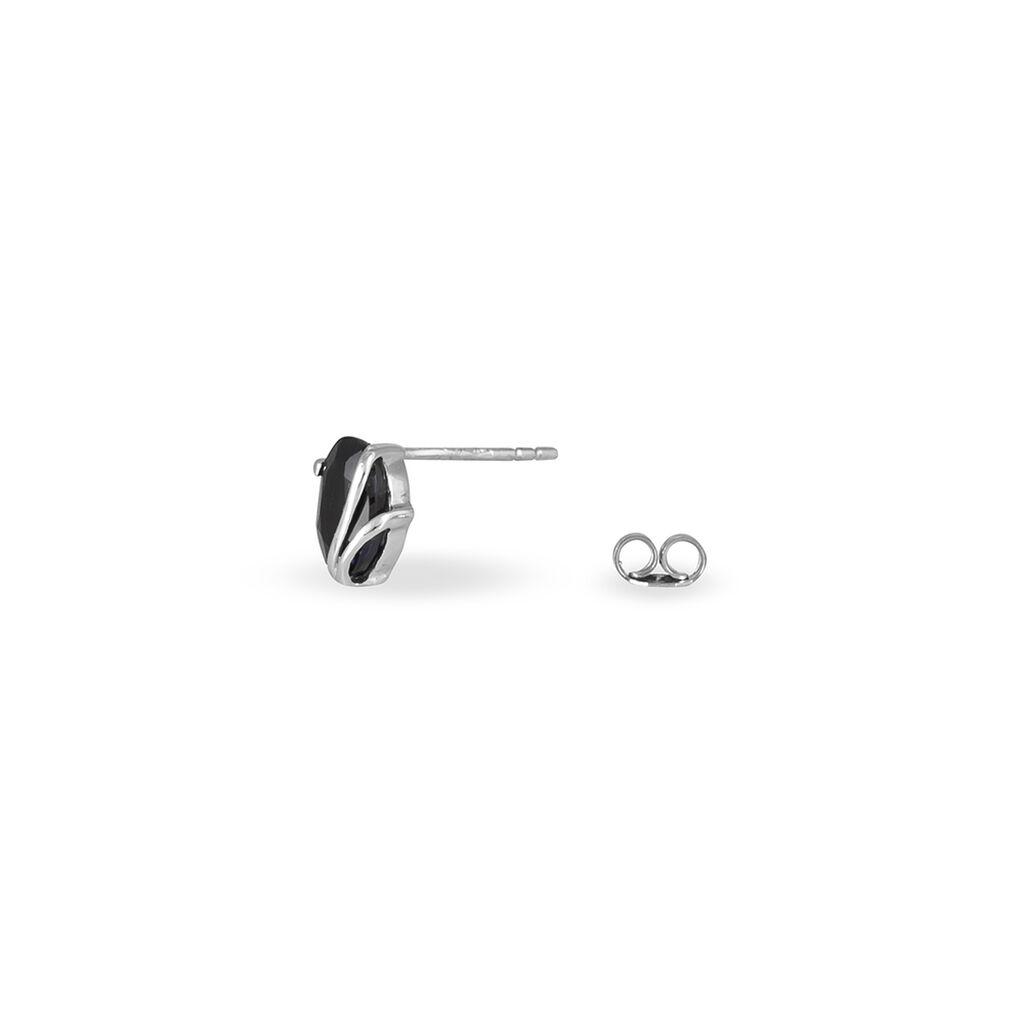 Boucles D'oreilles Puces Prudencia Or Blanc Saphir - Clous d'oreilles Femme | Histoire d'Or