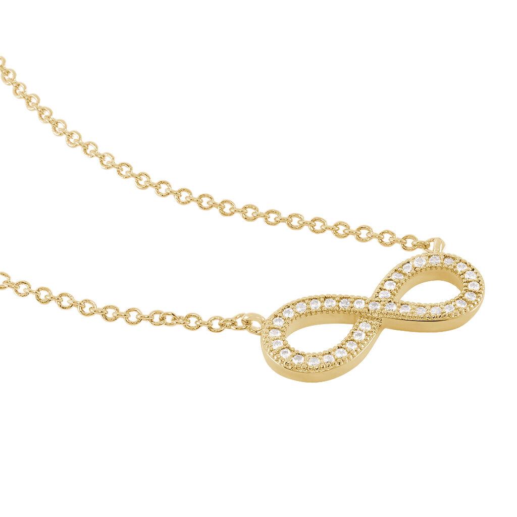 Collier Merane Plaque Or Jaune Oxyde De Zirconium - Colliers Infini Femme | Histoire d'Or