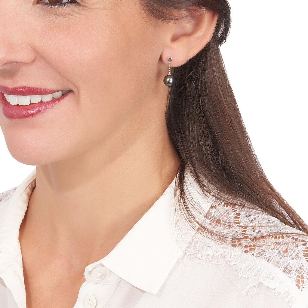 Boucles D'oreilles Pendantes Semi-ronde Or Blanc Perle De Tahiti - Boucles d'oreilles pendantes Femme   Histoire d'Or