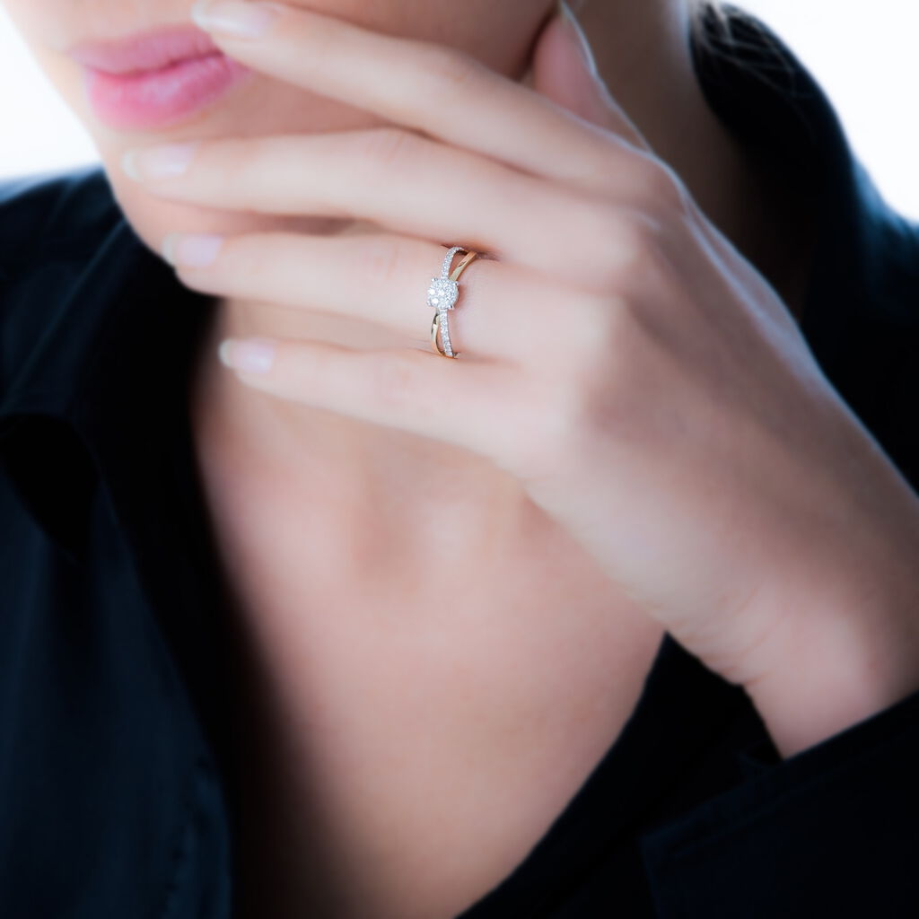 Bague Solitaire Shonah Or Bicolore Diamant - Bagues solitaires Femme | Histoire d'Or