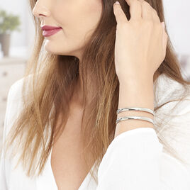 Bracelet Manchette Lisie Acier Blanc - Bracelets fantaisie Femme   Histoire d'Or