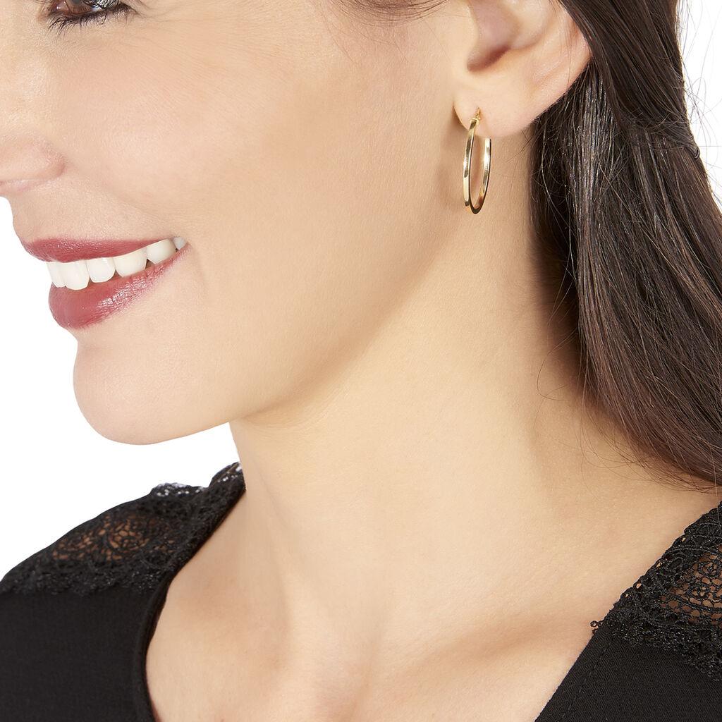 Créoles Trittia Lisses Fil Carre Or Jaune - Boucles d'oreilles créoles Femme | Histoire d'Or