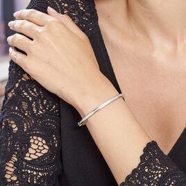 Bracelet Jonc Nagnouma Acier Blanc Oxyde De Zirconium - Bracelets joncs Femme   Histoire d'Or