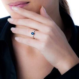 Bague Or Blanc Lea Saphir Central Oval - Bagues solitaires Femme | Histoire d'Or
