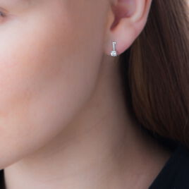 Boucles D'oreilles Puces Kanel Or Blanc Oxyde De Zirconium - Clous d'oreilles Femme | Histoire d'Or