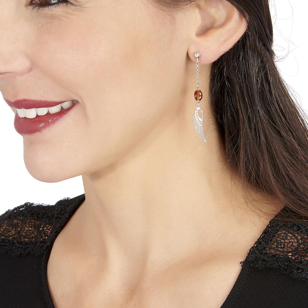 Boucles D'oreilles Pendantes Aglaee Argent Blanc Ambre - Boucles d'oreilles fantaisie Femme   Histoire d'Or