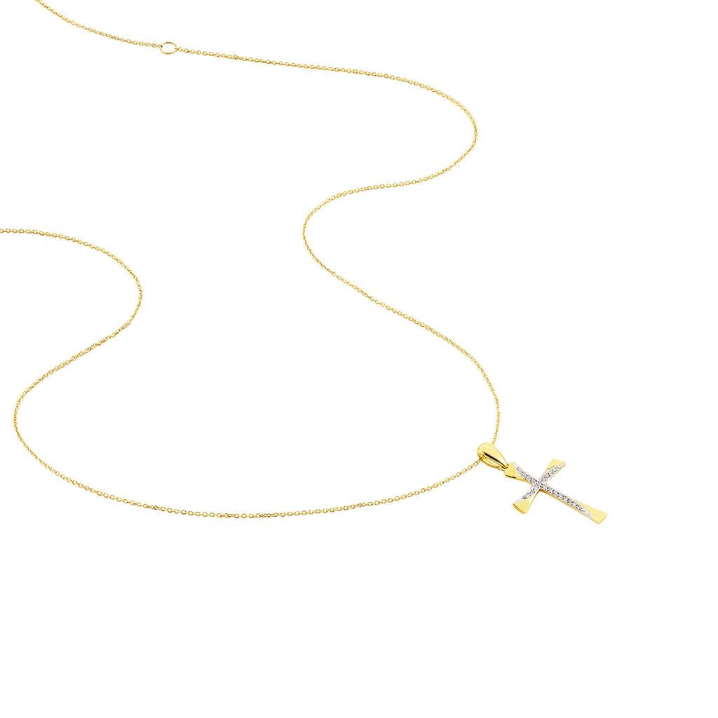 Collier Canice Croix Or Jaune Diamant - Colliers Croix Femme   Histoire d'Or