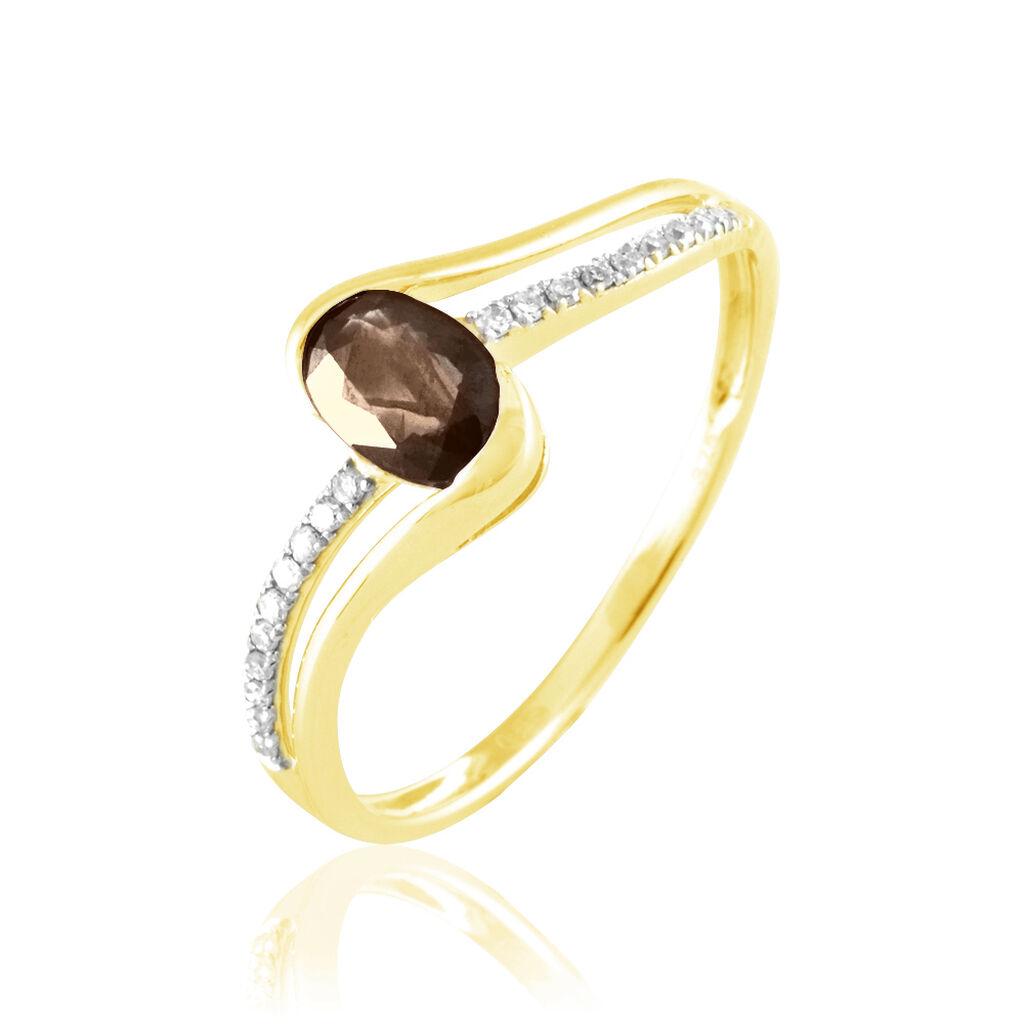 Bague Anja Or Jaune Quartz Et Diamant - Bagues avec pierre Femme   Histoire d'Or