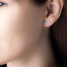 Boucles D'oreilles Argent Rhodie Puce Oxyde - Boucles d'Oreilles Infini Femme   Histoire d'Or