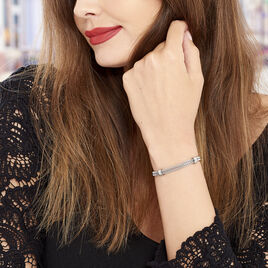 Bracelet Aleyna Maille Popcorn Acier Blanc - Bracelets fantaisie Femme   Histoire d'Or