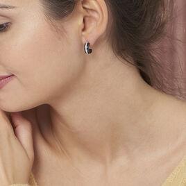 Créoles Noci Demi Cercle Argent Blanc Céramique Et Oxyde De Zirconium - Boucles d'oreilles créoles Femme | Histoire d'Or
