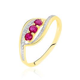 Bague Trilogie Precieuse Or Bicolore Rubis Et Diamant - Bagues avec pierre Femme   Histoire d'Or