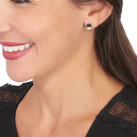 Boucles D'oreilles Puces Guenia Or Jaune Onyx - Clous d'oreilles Femme | Histoire d'Or