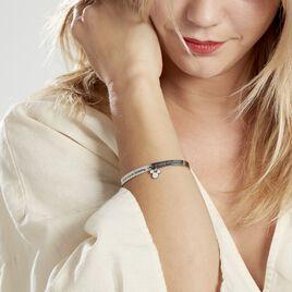 Bracelet Jonc Disney Acier Blanc Cristaux - Bracelets fantaisie Femme   Histoire d'Or
