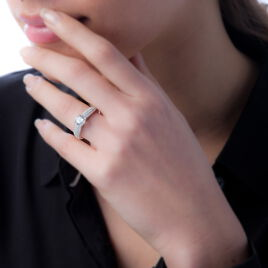 Bague Marilyn Argent Blanc Oxyde De Zirconium - Bagues solitaires Femme   Histoire d'Or