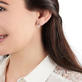 Boucles D'oreilles Puces Dominga Or Jaune Perle De Culture Et Oxyde - Clous d'oreilles Femme   Histoire d'Or