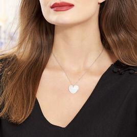 Collier Paula Argent Blanc - Colliers Coeur Femme   Histoire d'Or