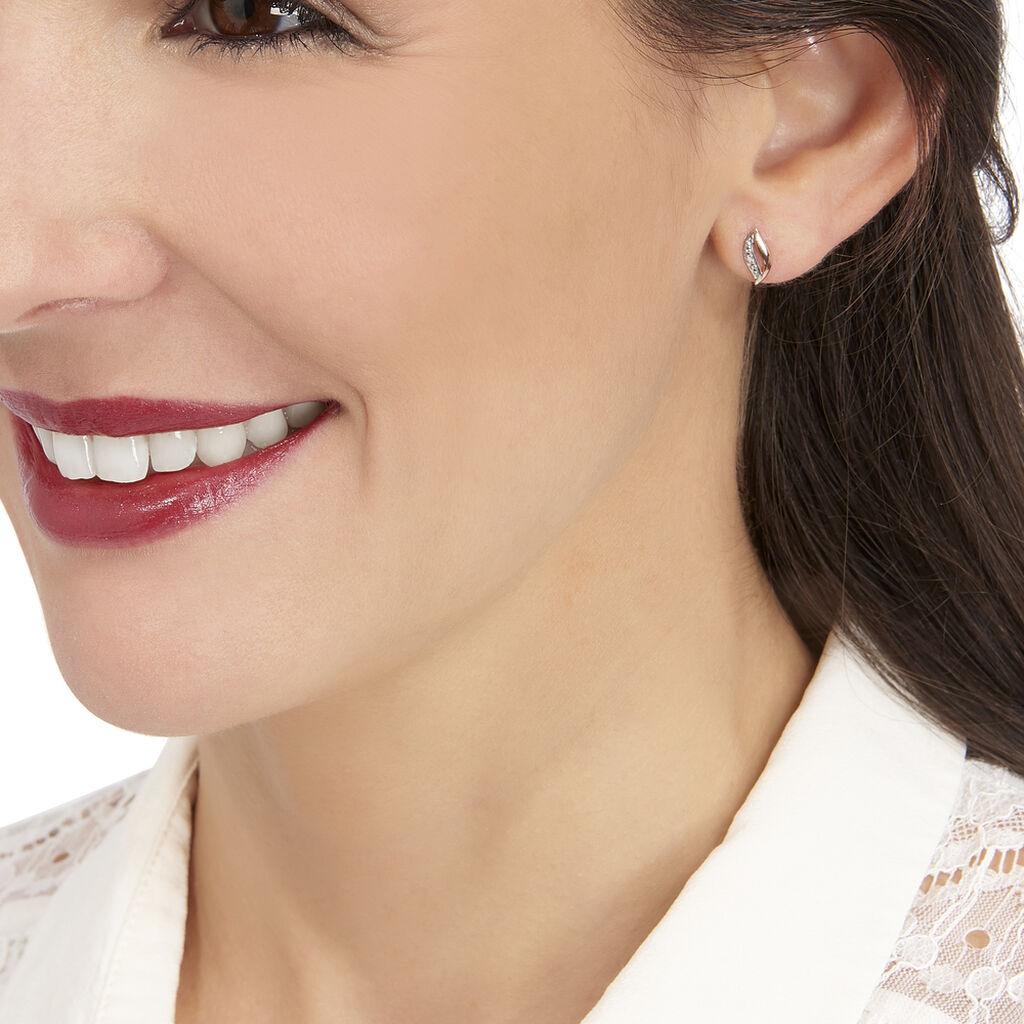 Boucles D'oreilles Puces Smeralda Or Rose Diamant - Clous d'oreilles Femme | Histoire d'Or
