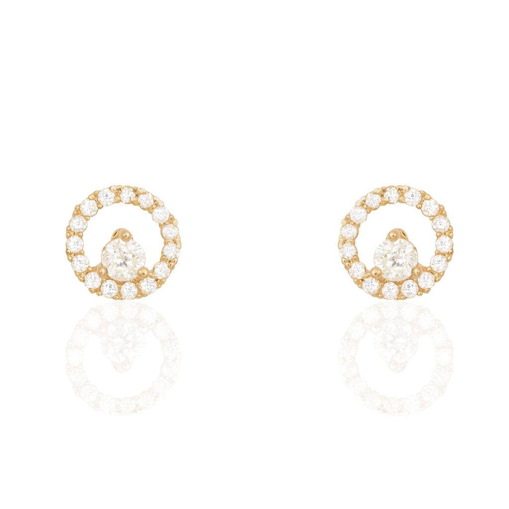 Boucles D'oreilles Puces Lila Plaque Or Jaune Oxyde De Zirconium - Boucles d'oreilles fantaisie Femme   Histoire d'Or