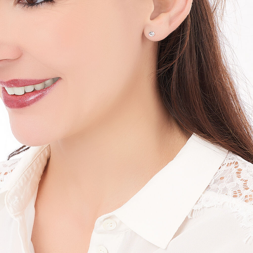 Boucles D'oreilles Puces Loeiza Argent Blanc Oxyde De Zirconium - Boucles d'oreilles fantaisie Femme | Histoire d'Or