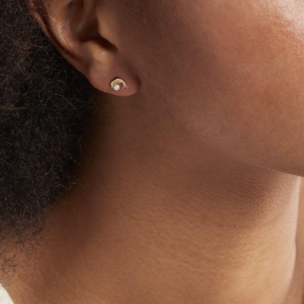 Boucles D'oreilles Puces Eleanor Dauphin Or Jaune Perle De Culture - Clous d'oreilles Femme | Histoire d'Or