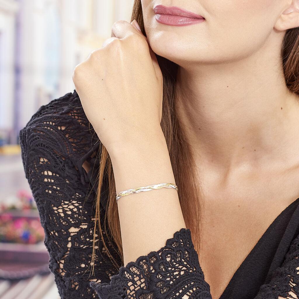 Bracelet Elae Maille Tresse Argent Tricolore - Bracelets chaîne Femme | Histoire d'Or