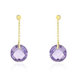 Boucles D'oreilles Pendantes Ludmille Or Jaune Amethyste - Boucles d'oreilles pendantes Femme | Histoire d'Or