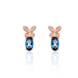 Boucles D'oreilles Puces Lora Or Rose Topaze Et Oxyde De Zirconium - Boucles d'Oreilles Papillon Femme   Histoire d'Or