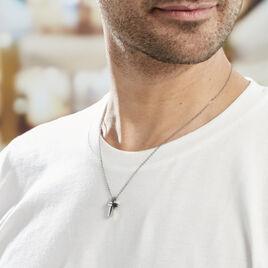 Collier Ruya Acier Blanc Oxyde De Zirconium - Colliers Croix Homme | Histoire d'Or
