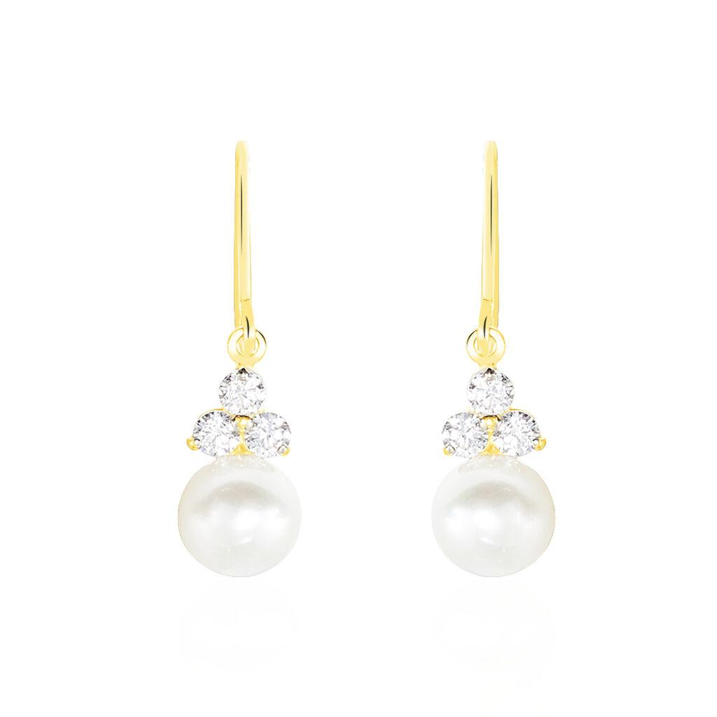 Boucles D'oreilles Pendantes Taissia Or Jaune Perle De Culture - Boucles d'oreilles pendantes Femme | Histoire d'Or