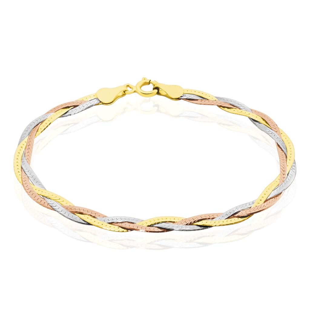 Bracelet Elae Maille Tresse Argent Tricolore - Bracelets chaîne Femme   Histoire d'Or