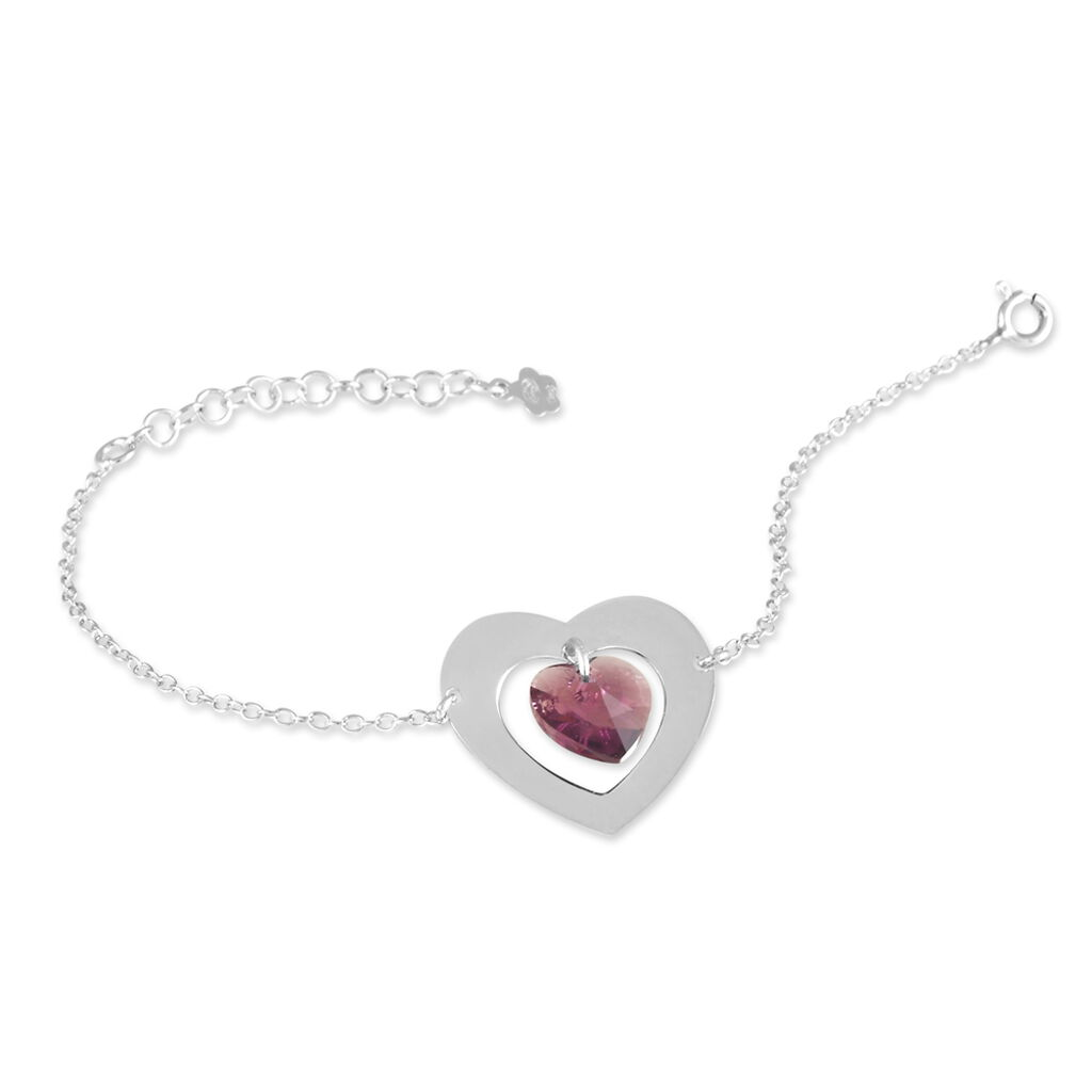 Bracelet Argent Blanc Amethyste - Bracelets Coeur Femme   Histoire d'Or
