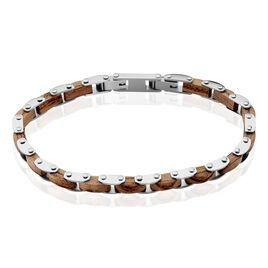 Bracelet Acier Blanc Bois Marron Bugios - Bracelets fantaisie Homme   Histoire d'Or