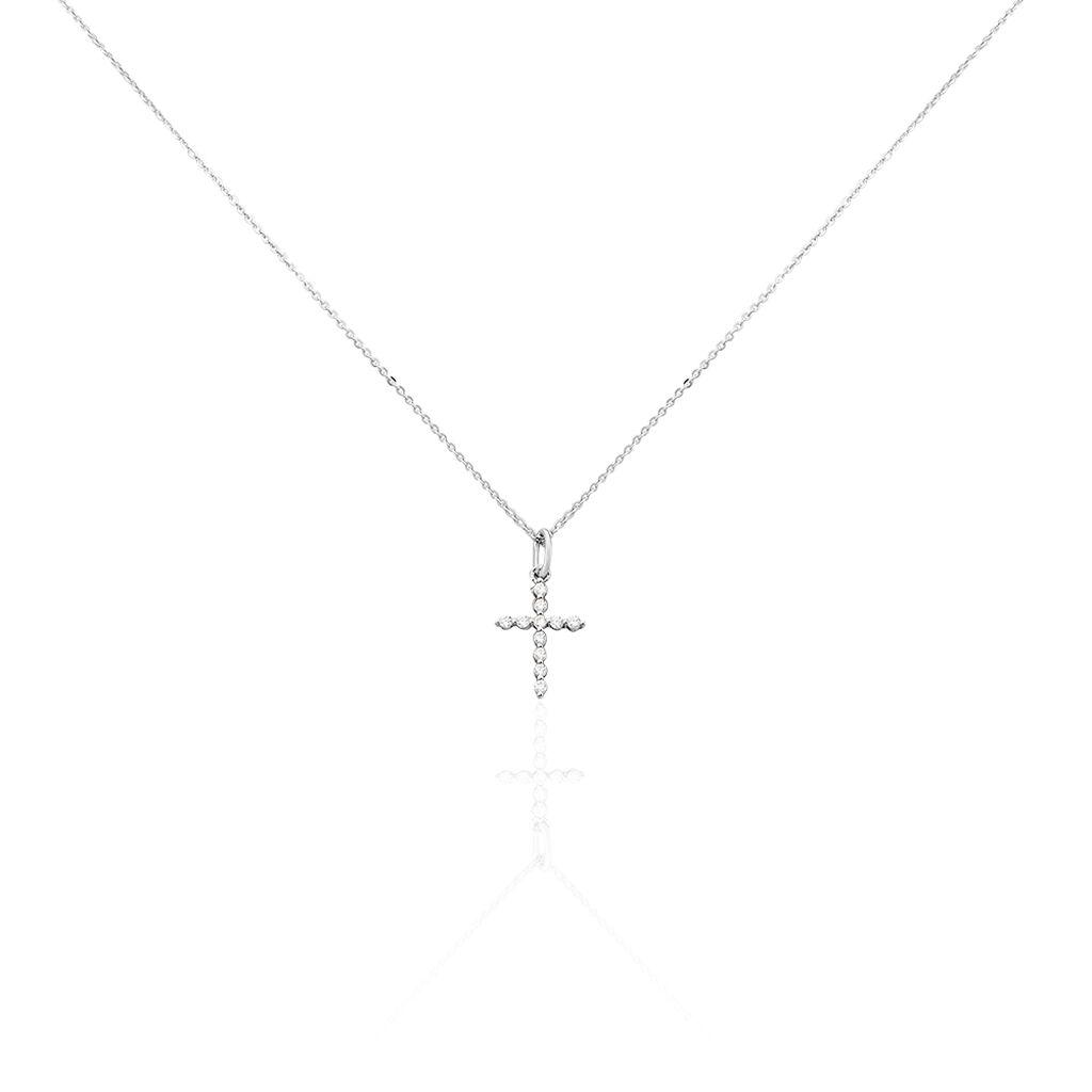 Collier Norine Argent Blanc Oxyde De Zirconium - Colliers Croix Femme | Histoire d'Or