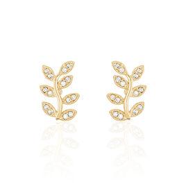 Boucles D'oreilles Puces Lenora Plaque Or Jaune Oxyde De Zirconium - Boucles d'Oreilles Plume Femme | Histoire d'Or