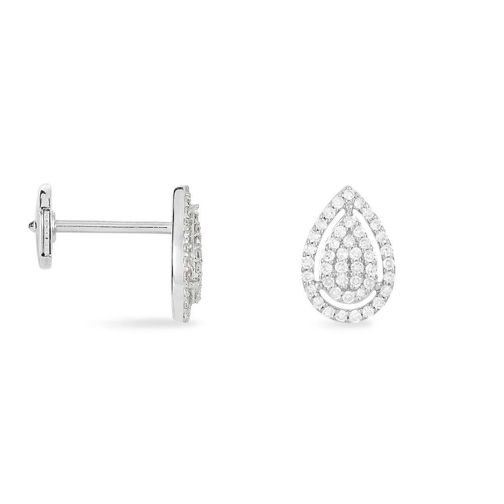 Boucles D'oreilles Puces Izia Or Blanc - Clous d'oreilles Femme | Histoire d'Or