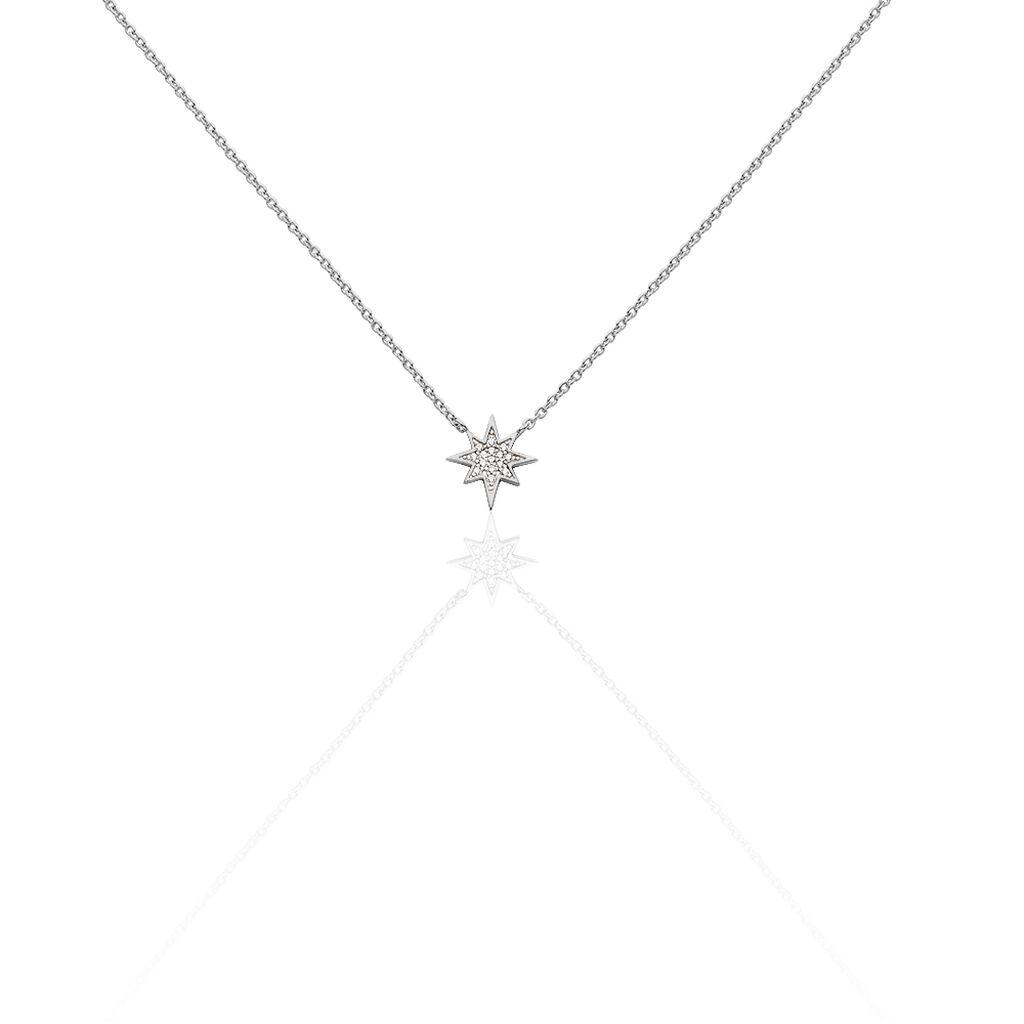 Collier Speranza Argent Blanc Oxyde De Zirconium - Colliers Etoile Femme   Histoire d'Or