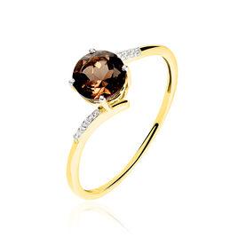 Bague Or Jaune Quartz Et Oxyde De Zirconium - Bagues avec pierre Femme   Histoire d'Or