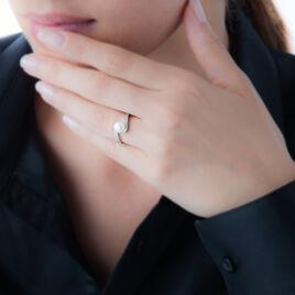 Bague Tonie Argent Blanc Perle De Culture Et Oxyde De Zirconium - Bagues avec pierre Femme | Histoire d'Or