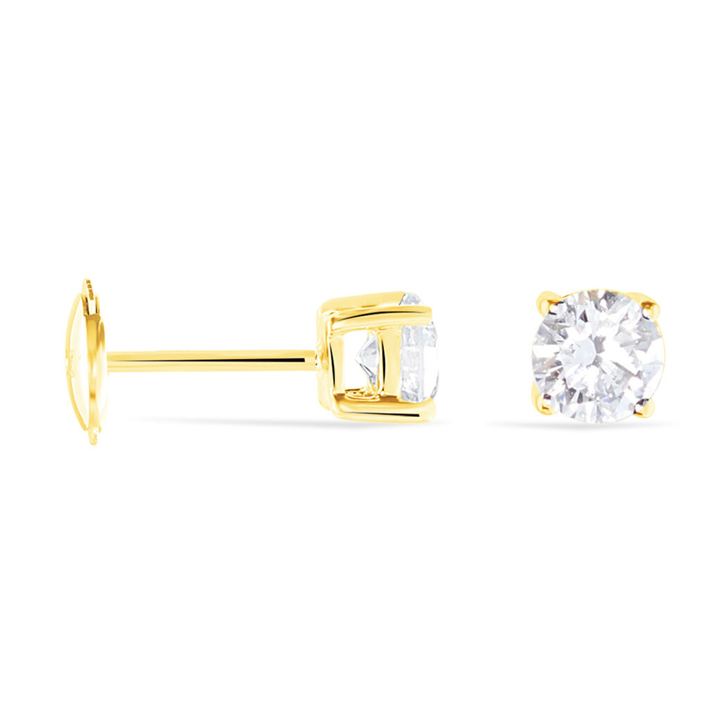 Boucles D'oreilles Puces 4 Griffes Or Jaune Diamant Synthetique - Clous d'oreilles Femme   Histoire d'Or