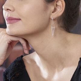 Boucles D'oreilles Pendantes Alexiane Argent Blanc Oxyde De Zirconium - Boucles d'oreilles fantaisie Femme   Histoire d'Or