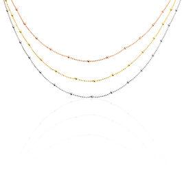 Collier Daralea Argent Tricolore - Colliers double et triple chaines Femme | Histoire d'Or