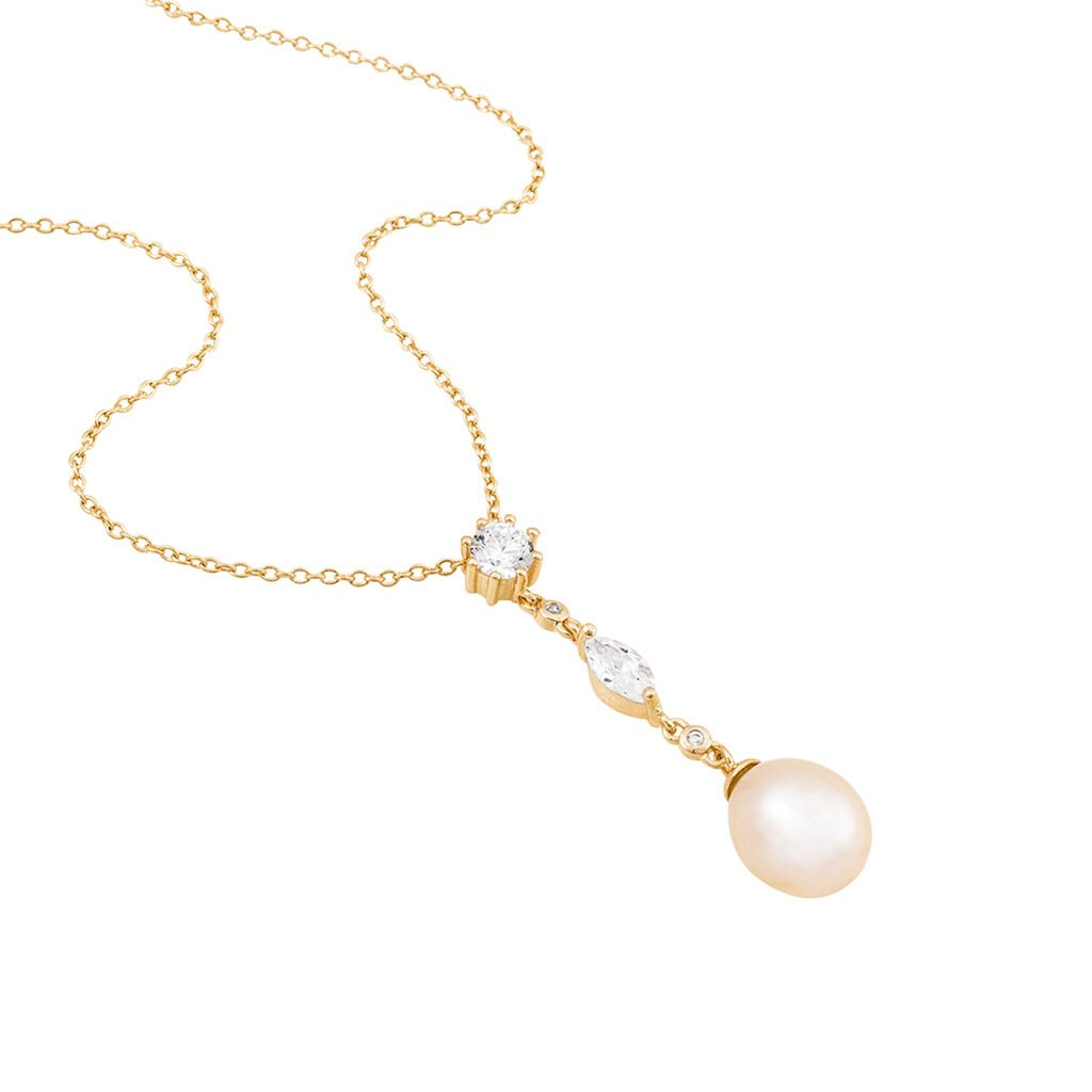 Collier Lynes Argent Rose Perle De Culture Et Oxyde De Zirconium - Colliers fantaisie Femme   Histoire d'Or