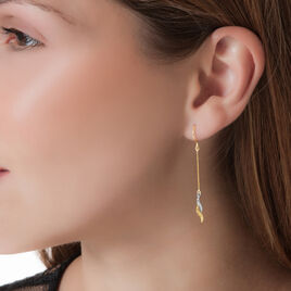 Boucles D'oreilles Pendantes Alisier Or Bicolore - Boucles d'oreilles pendantes Femme | Histoire d'Or