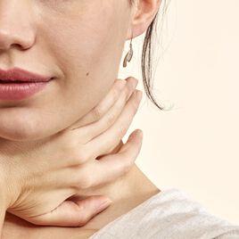 Boucles D'oreilles Pendantes Aube Or Bicolore Diamant - Boucles d'oreilles pendantes Femme | Histoire d'Or