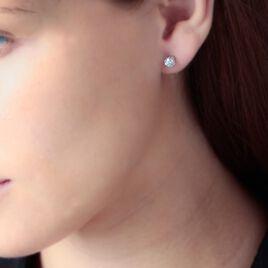 Boucles D'oreilles Puces Victoria Or Blanc Diamant - Clous d'oreilles Femme   Histoire d'Or